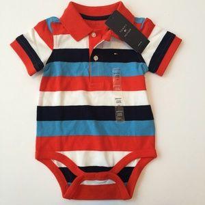 NWT Tommy Hilfiger Striped Polo Diaper Shirt